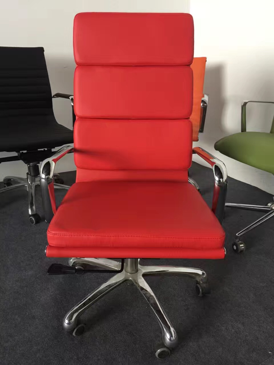 High Back Pu Pvc Red Leather Executive Swivel Office Chair