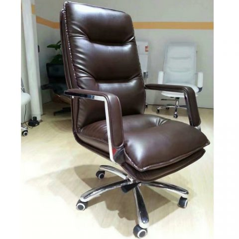 China Factory Comfortable Soft Boss Chair Executive Swivel Brown Leather  Office Chair