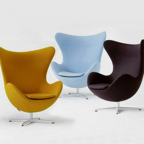 Modern Leisure Chair Living Room Vintage Genuine Leather Arne Jacobsen  Garden Egg Chair Replica Aluminum Egg Chair