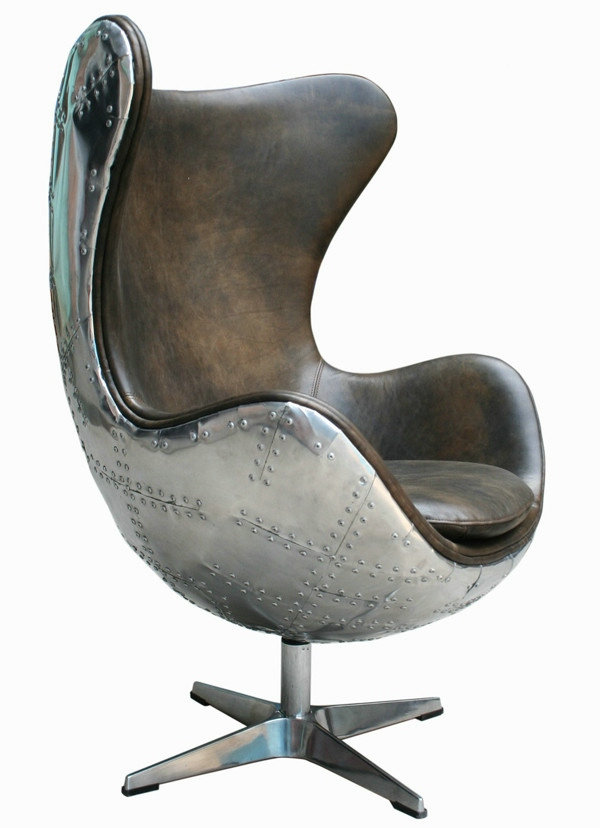 Modern Leisure Chair Living Room Vintage Genuine Leather