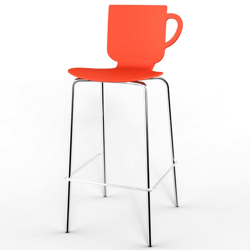 Creative Metal Frame Cup Bar Stool High Plastic Seat