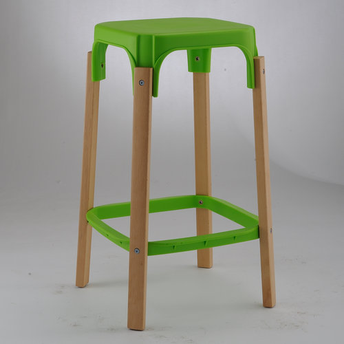 New Plastic Seat Wood Legs High Club Chair Bar Stool