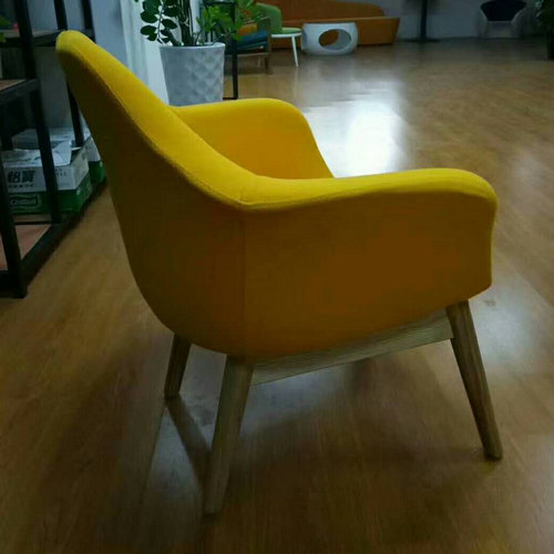Modern Yellow Wooden Upholstered Fabric Lounge Chairs