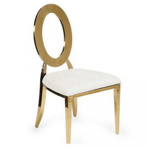 Golden Stainless Steel Leather Event Wedding Chairs Hotel